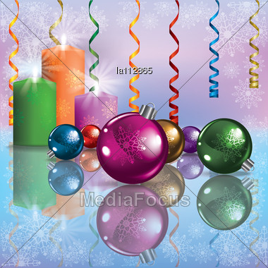 Abstract Illustration With Christmas Decorations And Candles Stock Photo