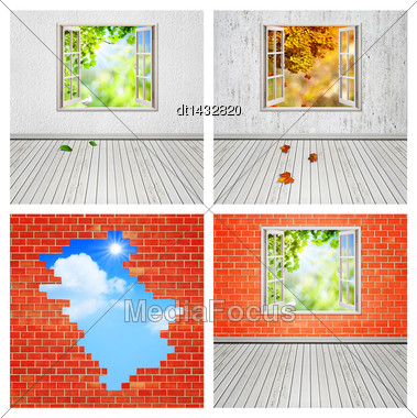 Abstract Interiors Set For Your Design Stock Photo