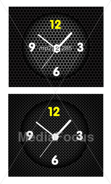 Abstract Metal Background With Modern Clock. Stock Photo