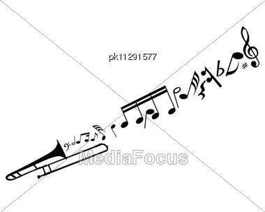Abstract Music Background With Different Notes And Wind Instrument Stock Photo