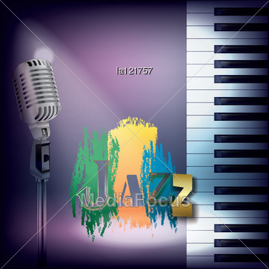 Abstract Music Background With Retro Microphone And Piano Stock Photo