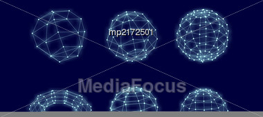 Abstract Network Connection. Vector Technology Background On Black Stock Photo