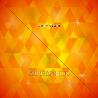 Abstract Orange Background. Orange Geometric Retro Mosaic Pattern Stock Photo