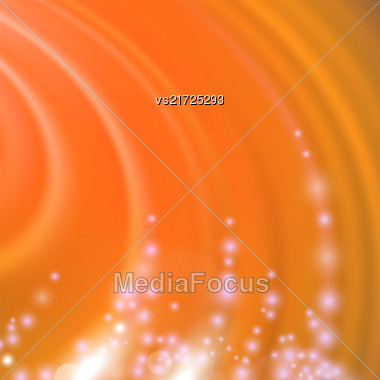 Abstract Orange Blurred Wave Background With Light Particles Stock Photo