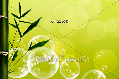 Abstract Oriental Spa Backgrounds With Bamboo And Water Bubbles Stock Photo