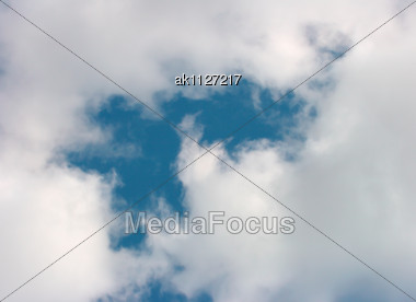 Abstract Outdoor Background With White Clouds And Blue Sky Stock Photo
