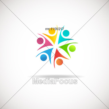 Abstract People Logo, Sign, Icon. Vector Concept For Social Network, Team Work, Business Company, Partnership, Friends, Family And Other Stock Photo