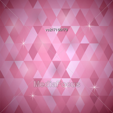 Abstract Pink Background. Pink Geometric Retro Mosaic Pattern Stock Photo