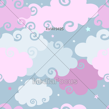 Abstract Pink Clouds Seamless Background. Vector Pattern Stock Photo
