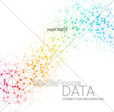 Abstract Polygonal Space Low Poly Colorful Background With Connecting Dots And Lines. Connection Structure. Vector Science Background. Polygonal Vector Background Stock Photo