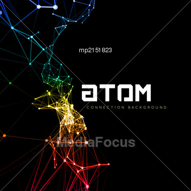 Abstract Polygonal Space Low Poly Dark Background With Connecting Dots And Lines. Connection Structure. Vector Science Background. Polygonal Vector Background. Futuristic HUD Background Stock Photo