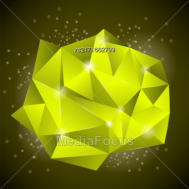 Abstract Polygonal Yellow Symbol Isolated On Dark Background Stock Photo