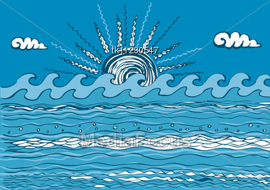 Abstract Sea Wave. Vector Illustration Of Sea Stock Photo