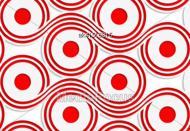 Abstract Seamless Background With 3D Cut Out Of Paper Effect. Pattern With Realistic Shadow. Modern Texture. Stylish Backdrop.White Colored Paper Red Spools Stock Photo