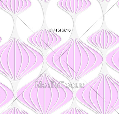 Abstract Seamless Background With 3D Cut Out Of Paper Effect. Pattern With Realistic Shadow. Modern Texture. Stylish Backdrop.White Colored Paper Pink Chinese Lanterns Stock Photo