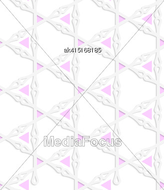 Abstract Seamless Background With 3D Cut Out Of Paper Effect. Pattern With Realistic Shadow. Modern Texture. Stylish Backdrop.White Colored Paper Pink Triangles With Clubs Stock Photo