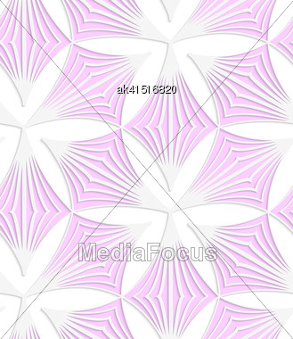 Abstract Seamless Background With 3D Cut Out Of Paper Effect. Pattern With Realistic Shadow. Modern Texture. Stylish Backdrop.White Colored Paper Pink Pointy Trefoils Stock Photo