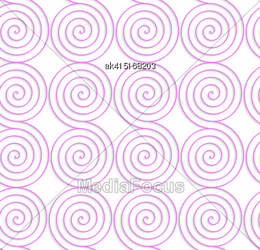 Abstract Seamless Background With 3D Cut Out Of Paper Effect. Pattern With Realistic Shadow. Modern Texture. Stylish Backdrop.White Colored Paper Pink Spirals Stock Photo