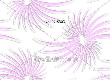 Abstract Seamless Background With 3D Cut Out Of Paper Effect. Pattern With Realistic Shadow. Modern Texture. Stylish Backdrop.White Colored Paper Floral Pink Daisy Flowers Stock Photo