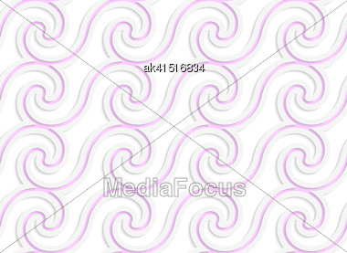 Abstract Seamless Background With 3D Cut Out Of Paper Effect. Pattern With Realistic Shadow. Modern Texture. Stylish Backdrop.White Colored Paper Pink Spiral Waves Stock Photo