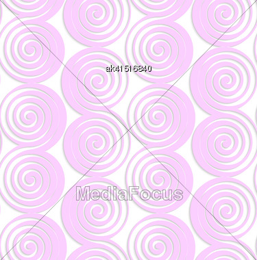 Abstract Seamless Background With 3D Cut Out Of Paper Effect. Pattern With Realistic Shadow. Modern Texture. Stylish Backdrop.White Colored Paper Pink Spirals With Thickening Stock Photo