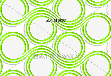Abstract Seamless Background With 3D Cut Out Of Paper Effect. Pattern With Realistic Shadow. Modern Texture. Stylish Backdrop.White Colored Paper Green Spools Stock Photo