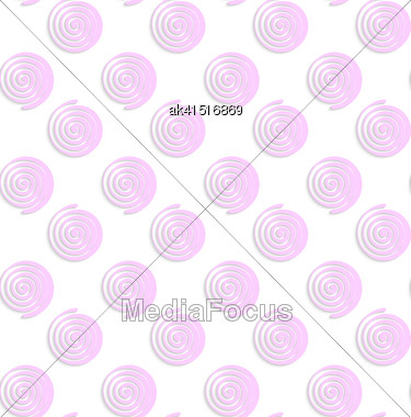 Abstract Seamless Background With 3D Cut Out Of Paper Effect. Pattern With Realistic Shadow. Modern Texture. Stylish Backdrop.White Colored Paper Pink Round Spirals Stock Photo