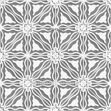 Abstract Seamless Background. Detailed Ornament With White Lines And Wavy Triangles And Cut Out Of Paper Effect Stock Photo