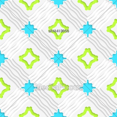 Abstract Seamless Background. Wavy Lines With Blue And Green And Cut Out Of Paper Effect Stock Photo