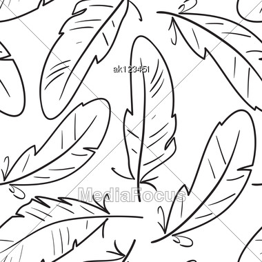 Abstract Seamless Pattern With Black-and-white Contours Of Birds Feathers. Vector Illustration. Stock Photo