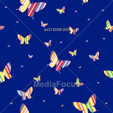 Abstract Seamless Wallpaper Pattern Butterflies. A Vector. Stock Photo