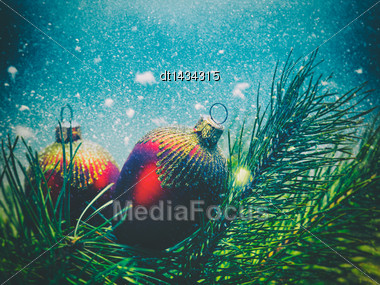 Abstract Seasonal Backgrounds With Christmas Decorations And Beauty Bokeh Stock Photo