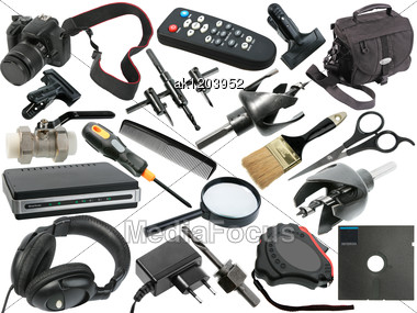 Abstract Set Of Black Objects For Your Design Close-up Studio Photography Stock Photo