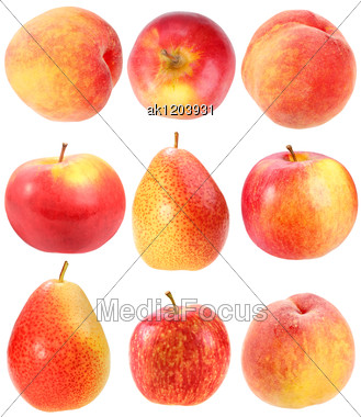 Abstract Set Of Fresh Red Fruits For Your Design Close-up Studio Photography Stock Photo