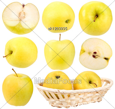 Abstract Set Of Fresh Yellow Apples For Your Design Close-up Studio Photography Stock Photo