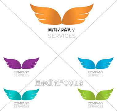 Abstract Simple Wings Logo. Vector Logo Icon Stock Photo