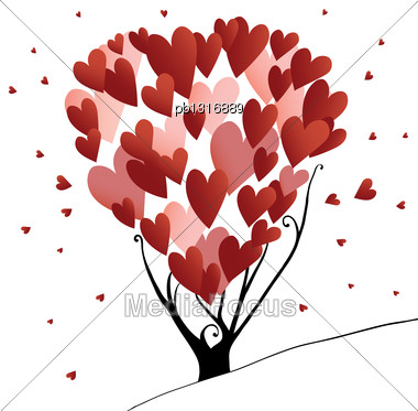 Abstract Stylized Valentines Day Tree With Hearts, Vector Illustration Stock Photo