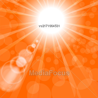 Abstract Sun Background. Orange Summer Pattern. Bright Background With Sunshine. SunBurst With Flare And Lens Stock Photo