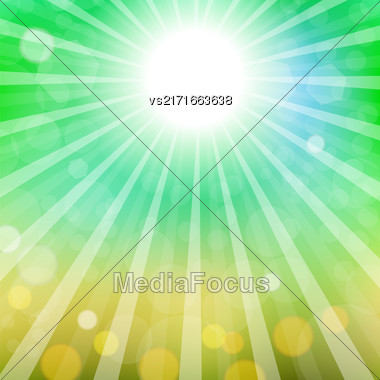Abstract Sun Background. Summer Sky Pattern. Bright Background With Sunshine. SunBurst With Flare And Lens Stock Photo