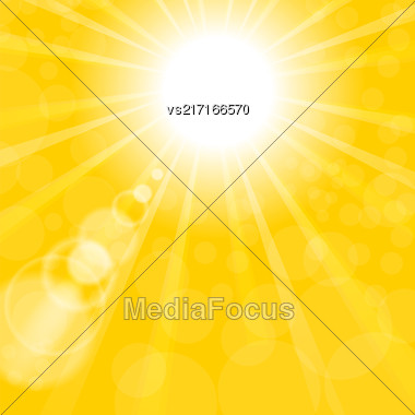 Abstract Sun Background. Yellow Summer Pattern. Bright Background With Sunshine. SunBurst With Flare And Lens Stock Photo