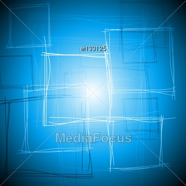 Abstract Tech Drawing With Squares. Vector Background Eps 10 Stock Photo