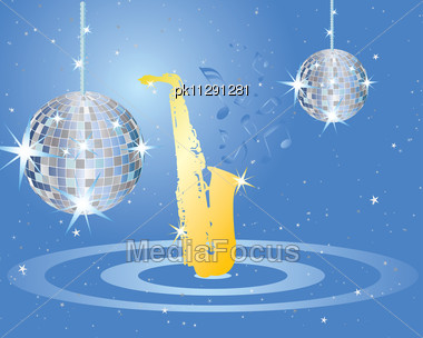 Abstract Vector Musical Background With Disco Spere Stock Photo