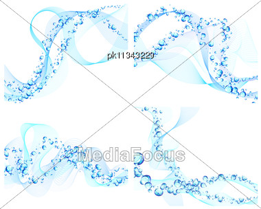 Abstract Water Vector Backgrounds Set With Bubbles Of Air Stock Photo