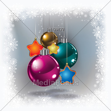 Abstract White Greeting With Christmas Decorations On Grey Stock Photo