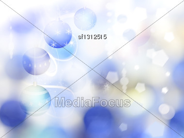 Abstract Winter Background With Christmas Decorations And Bokeh Stock Photo