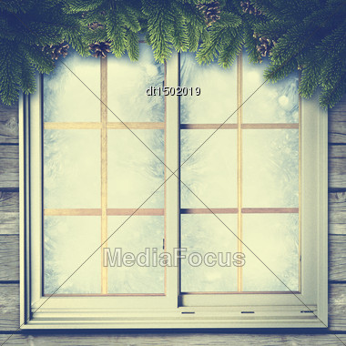 Abstract Winter Backgrounds With Vintage Window And Pine Tree Stock Photo