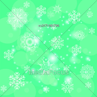 Abstract Winter Snow Background. Abstract Green Winter Pattern. Snowflakes Background Stock Photo
