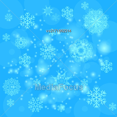 Abstract Winter Snow Background. Abstract Winter Pattern. Snowflakes Background Stock Photo