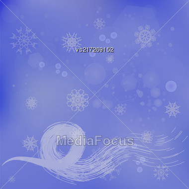 Abstract Winter Snow Background. Blue Winter Pattern. Snowflakes Texture Stock Photo
