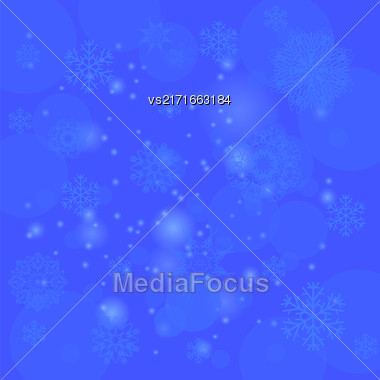 Abstract Winter Snow Blue Background. Abstract Winter Pattern. Snowflakes Background Stock Photo